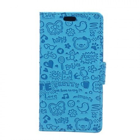 Lommebok Etui for Sony Xperia M4 Aqua Love Blå