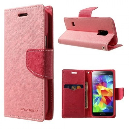 Etui for Galaxy S5 Mini Mercury Lys Rosa m/kortlommer
