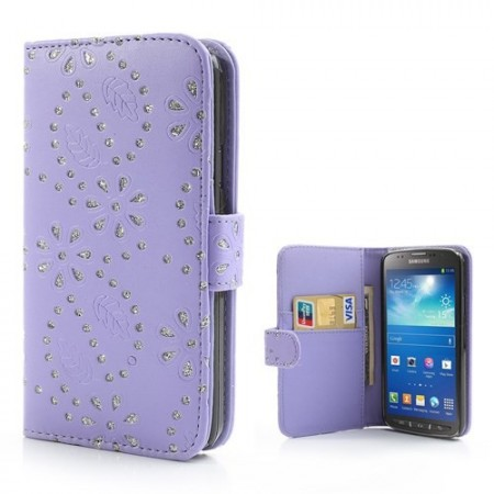 Lommebok Etui for Galaxy S4 Active Glitter Blomst Lilla