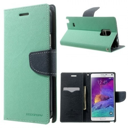 Etui for Galaxy Note 4 Mercury Mint Grønn m/kortlommer