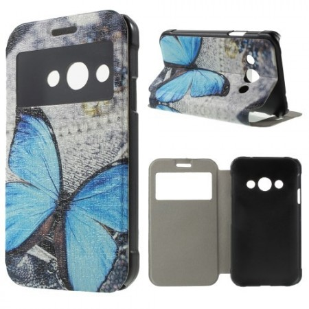 Slimbook Etui m/skjermvindu for Galaxy Xcover 3 Blue Butterfly