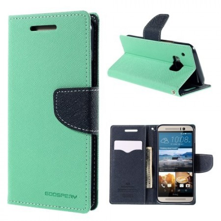 Etui m/kortlommer for HTC One M9 Mint Grønn