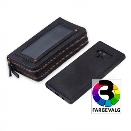 Galaxy Note 9  2i1 Mobilveske Retro Zipper