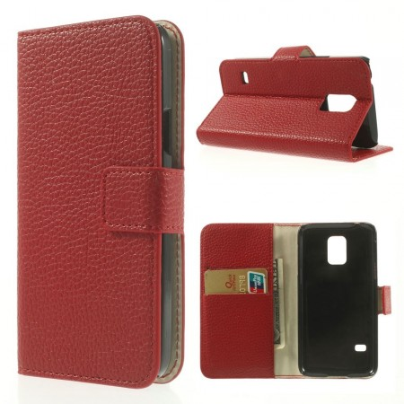 Lommebok Etui for Samsung Galaxy S5 Mini Classic Rød