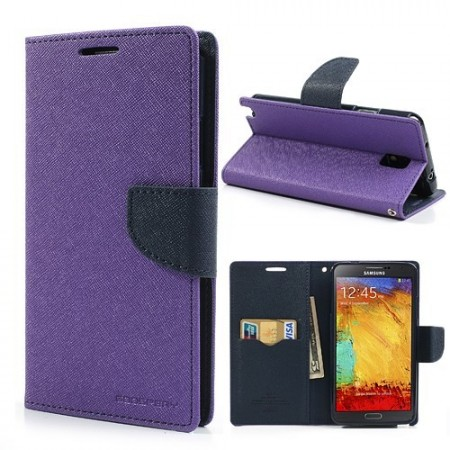 Etui for Samsung Note 3 Lommebok Mercury Lilla