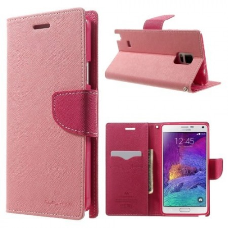 Etui for Galaxy Note 4 Mercury Lys Rosa m/kortlommer