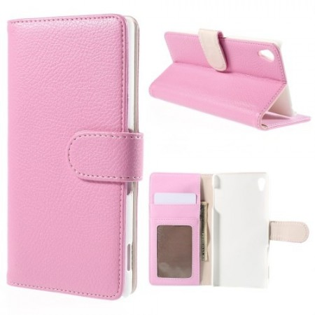Lommebok Etui for Sony Xperia Z3+ Lychee Lys Rosa
