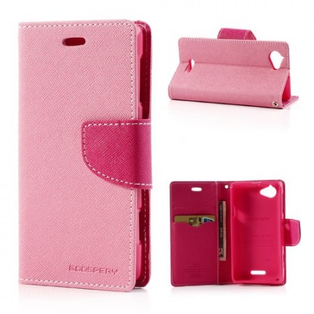 Lommebok Etui for Sony Xperia L Mercury Lys Rosa