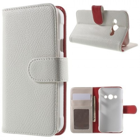 Etui m/kortlommer for Galaxy Xcover 3 Lychee Hvit