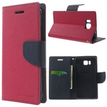 Etui m/kortlommer for Galaxy Alpha Mercury Mørk Rosa