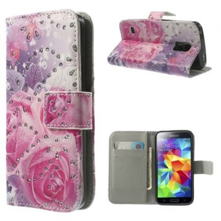 Etui for Galaxy S5 Mini m/kortlommer Glitter Roser