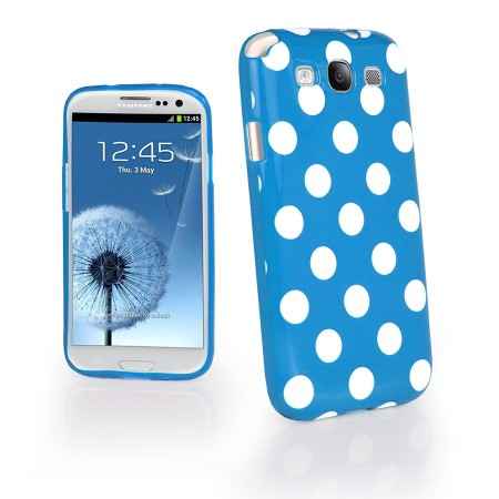 Deksel for Galaxy S3 Polka Blå/Hvit