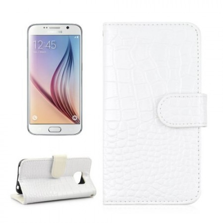 Etui m/kortlommer for Galaxy S6 Croco Hvit