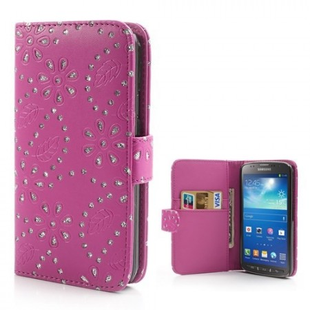 Lommebok Etui for Galaxy S4 Active Glitter Blomst Rosa
