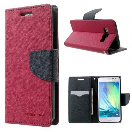 Etui m/kortlommer for Galaxy A3 Mercury Mørk Rosa