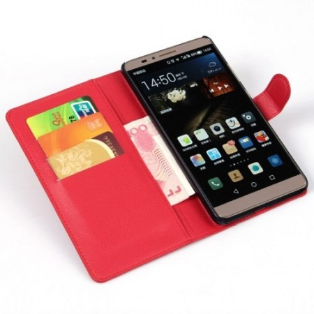 Etui for Huawei Ascend Mate7 Classic Lychee Rød