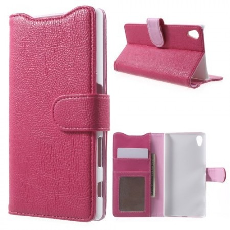 Lommebok Etui for Sony Xperia Z5 Lychee Rosa