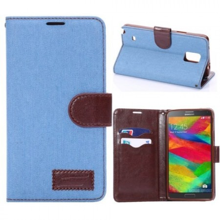 Etui for Galaxy Note 4 Lommebok Denim Lys Blå
