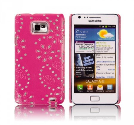 Cover for Samsung Galaxy S2 Glitter Blomst Mørk Rosa