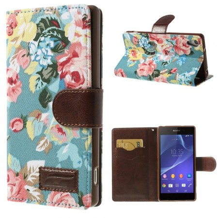 Lommebok Etui for Sony Xperia Z2 Rose Lys Blå