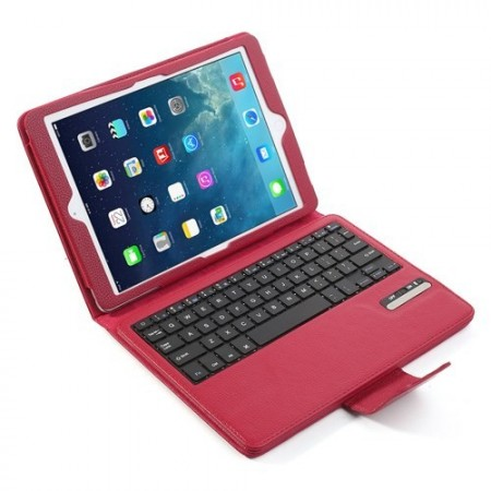 Mappe Etui for iPad Air 2 Bluetooth Tastatur Mørk Rosa