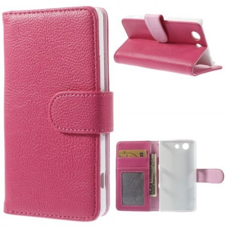 Lommebok Etui for Sony Xperia Z3 Compact Lychee Mørk Rosa