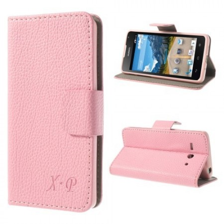 Etui Lommebok for Huawei Ascend Y530 Lychee Lys Rosa