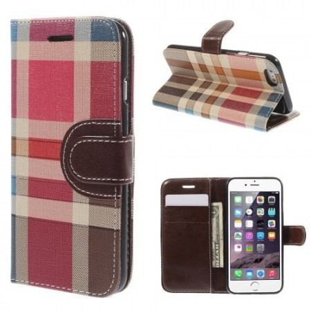 Etui for iPhone 6 m/kortlommer Rutemønster Mørk Brun