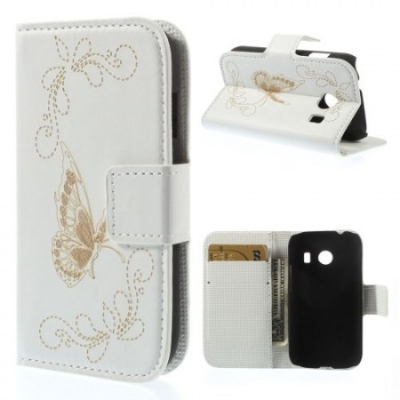 Etui for Galaxy Ace Style Butterfly Hvit