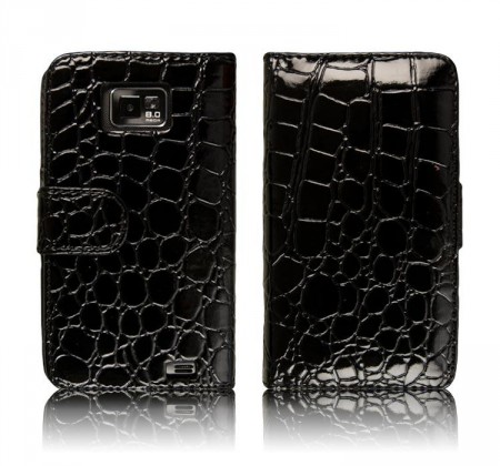 Flipp Lommebok for Samsung Galaxy S2 Croco Svart