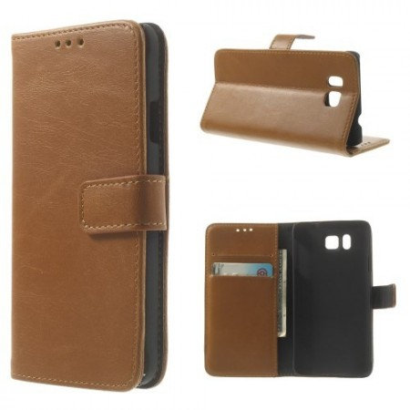 Lommebok Etui for Samsung Galaxy Alpha Smooth Lys Brun