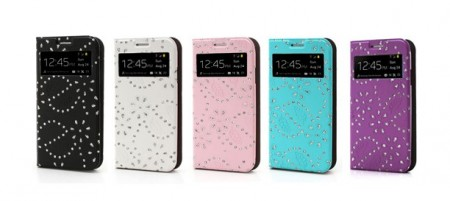 Slimbook Etui for Samsung Galaxy S5 Glitter Blomst