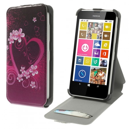 Etui for Lumia 630 Flipp Hjerte 5