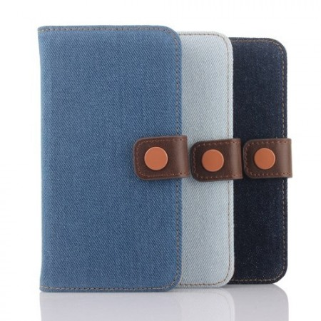 Etui for Galaxy S6 Denim m/kortlommer