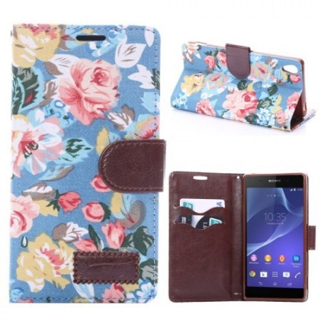 Lommebok Etui for Sony Xperia Z3 Rose Lys Blå