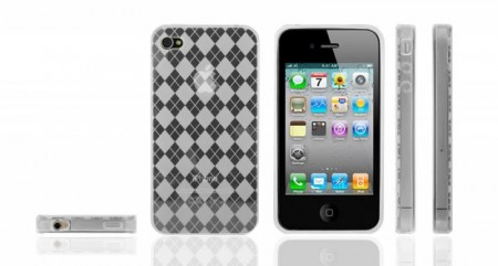 Gel Case for Iphone 4  Ruter Hvit