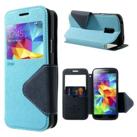 Etui for Galaxy S5 Mini Roar m/Skjermvindu Lys Blå