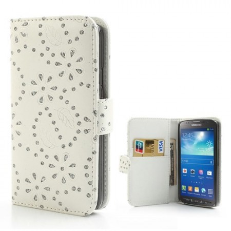 Lommebok Etui for Galaxy S4 Active Glitter Blomst Hvit