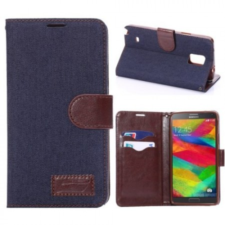 Etui for Galaxy Note 4 Lommebok Denim Marine Blå