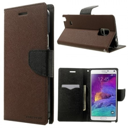 Etui for Galaxy Note 4 Mercury Brun/Svart m/kortlommer