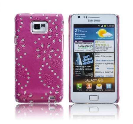 Cover for Samsung Galaxy S2 Glitter Blomst Burgunder