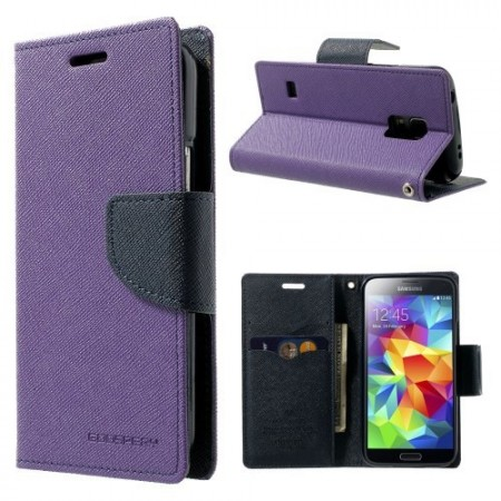 Etui for Galaxy S5 Mini Mercury Lilla m/kortlommer