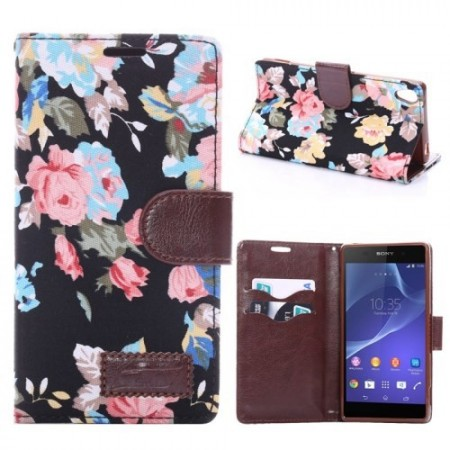 Lommebok Etui for Sony Xperia Z3 Rose Svart