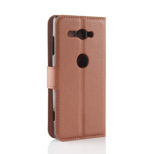Xperia XZ2 Compact Lommebok Etui Lychee Brun