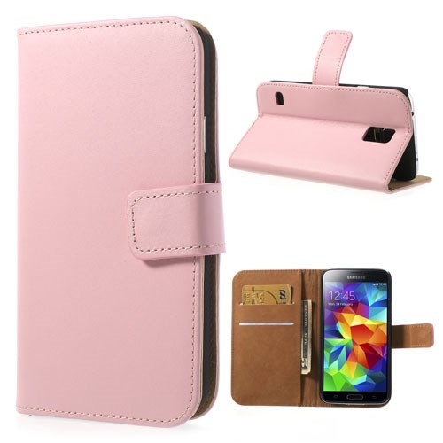 Lommebok Etui for Galaxy S5 Genuine Lys Rosa