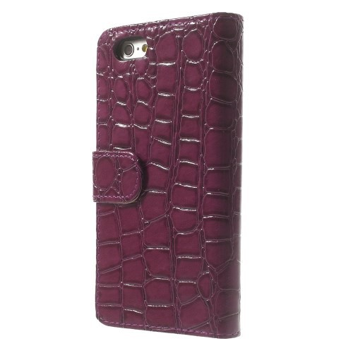 Etui for iPhone 6 Croco m/kortlommer Burgunder