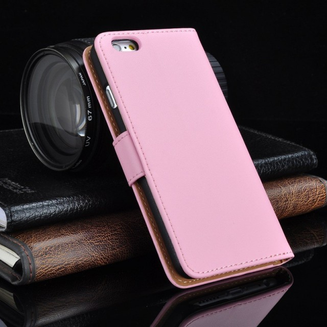 Lommebok Etui for iPhone 5/5s Genuine Lys Rosa