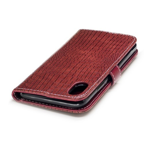 iPhone X 5,8 Etui m/kortlommer Crocodile Rød