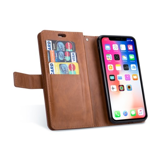 iPhone Xs Max Lommebok Etui Zipper - Brun