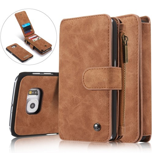 2i1 Etui m/kortlommer for Galaxy S6 Retro Lys Brun